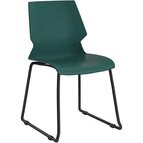 Titan Uni Skid Base Classroom Chair 475mm Seat Height Grey Frame &Green Seat