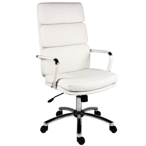 Deco Executive Faux Leather Office Chair In White
