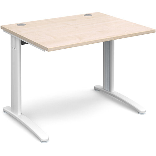 TR10 straight desk 1000mm x 800mm - white frame, maple top