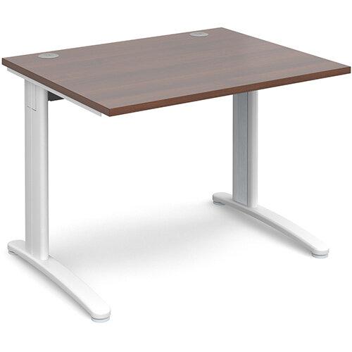 TR10 straight desk 1000mm x 800mm - white frame, walnut top