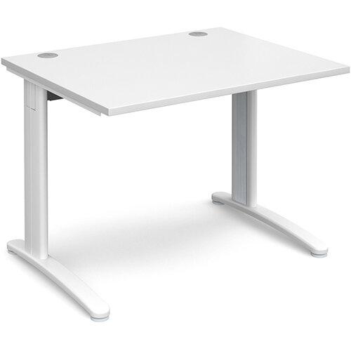 TR10 straight desk 1000mm x 800mm - white frame, white top