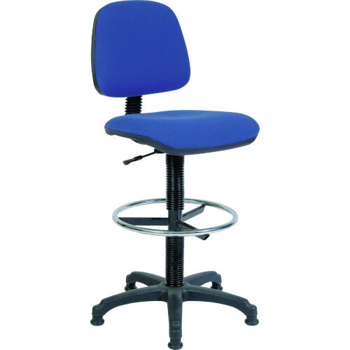 ERGO BLASTER Medium Back Draughter Chair H720 - 850mm Blue Fabric Seat