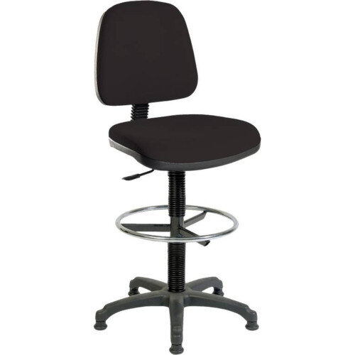 ERGO BLASTER Medium Back Draughter Chair H720 - 850mm Black Fabric Seat