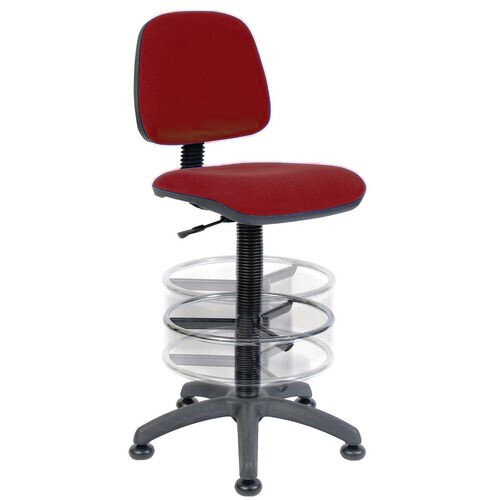 ERGO BLASTER Deluxe Medium Back Draughter Chair H600 - 860mm With Adjustable Foot Ring Burgundy