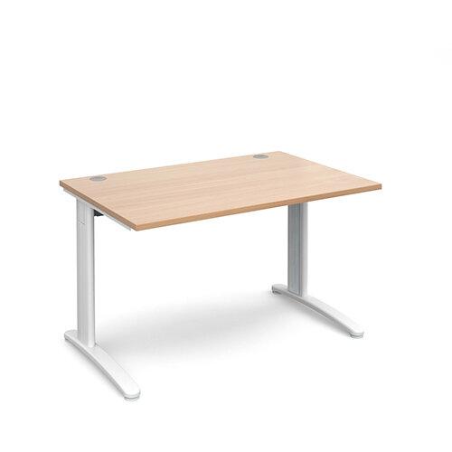 TR10 straight desk 1200mm x 800mm - white frame, beech top