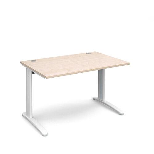 TR10 straight desk 1200mm x 800mm - white frame, maple top