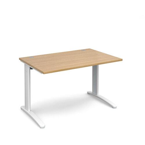 TR10 straight desk 1200mm x 800mm - white frame, oak top
