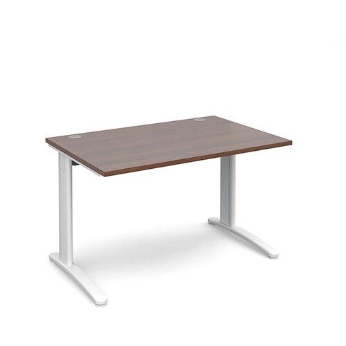 TR10 straight desk 1200mm x 800mm - white frame, walnut top
