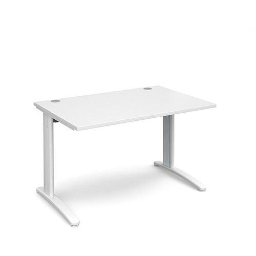 TR10 straight desk 1200mm x 800mm - white frame, white top