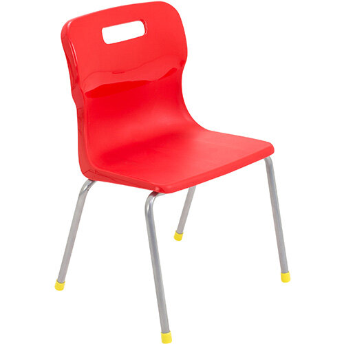 Titan 4 Leg Classroom Chair Size 3 350mm Seat Height (Ages: 6-8 Years) Red T13-R - 5 Year Guarantee