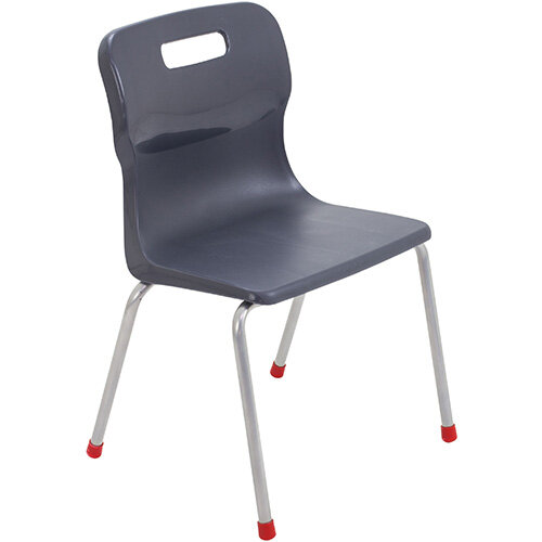 Titan 4 Leg Classroom Chair Size 4 380mm Seat Height (Ages: 8-11 Years) Charcoal T14-C - 5 Year Guarantee