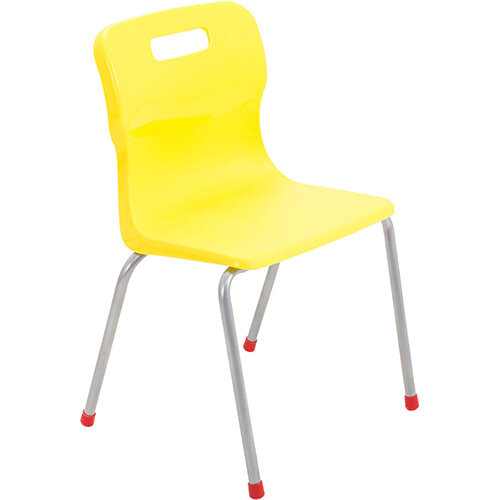 Titan 4 Leg Classroom Chair Size 4 380mm Seat Height (Ages: 8-11 Years) Yellow T14-Y - 5 Year Guarantee