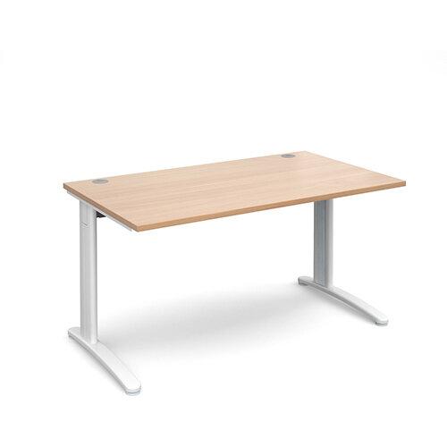 TR10 straight desk 1400mm x 800mm - white frame, beech top