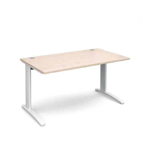 TR10 straight desk 1400mm x 800mm - white frame, maple top