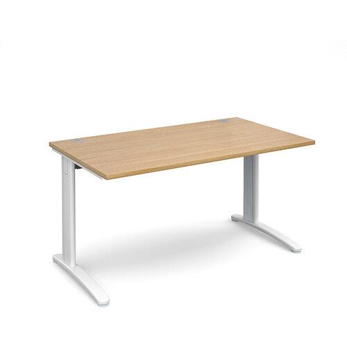 TR10 straight desk 1400mm x 800mm - white frame, oak top