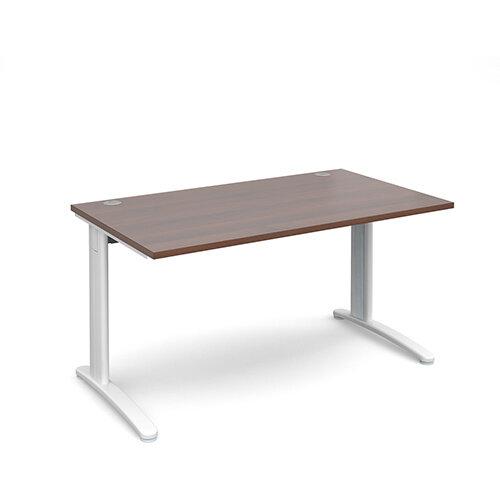 TR10 straight desk 1400mm x 800mm - white frame, walnut top