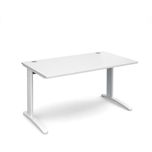TR10 straight desk 1400mm x 800mm - white frame, white top