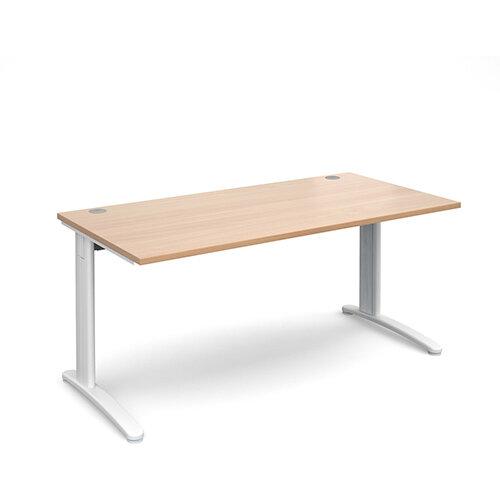TR10 straight desk 1600mm x 800mm - white frame, beech top