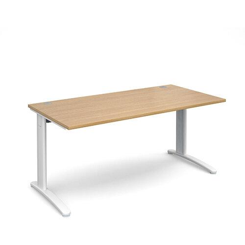 TR10 straight desk 1600mm x 800mm - white frame, oak top