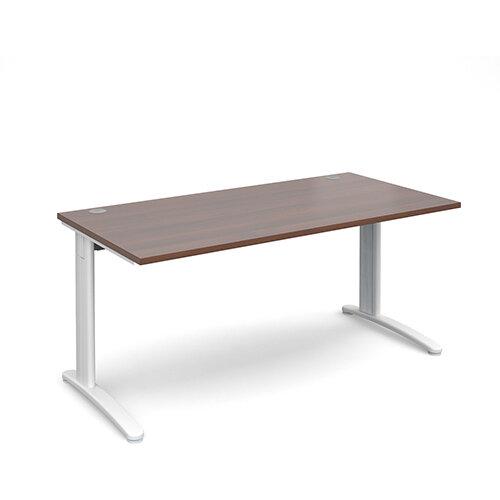 TR10 straight desk 1600mm x 800mm - white frame, walnut top