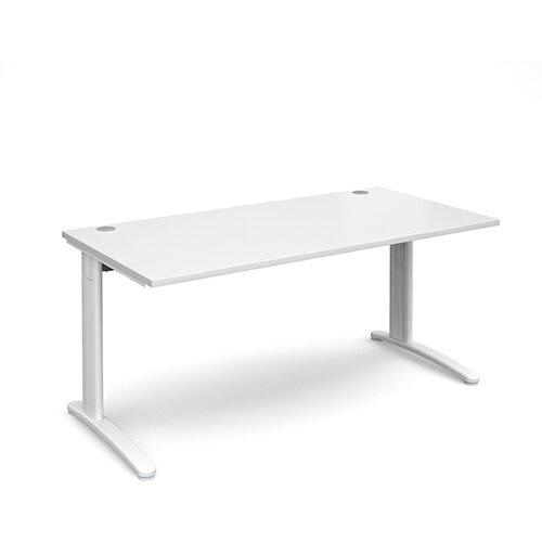 TR10 straight desk 1600mm x 800mm - white frame, white top