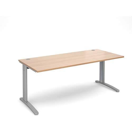 TR10 straight desk 1800mm x 800mm - silver frame, beech top