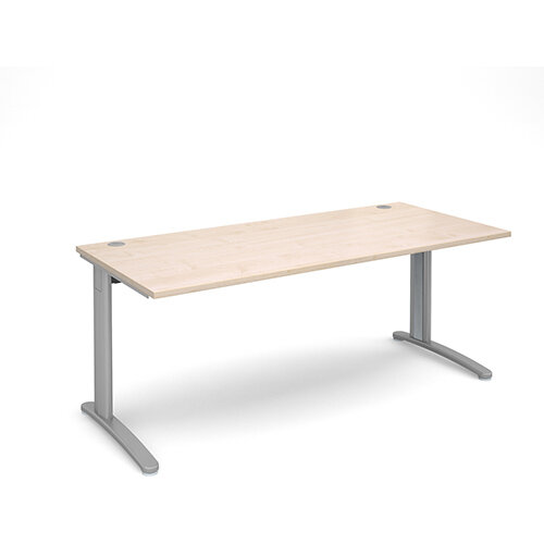 TR10 straight desk 1800mm x 800mm - silver frame, maple top