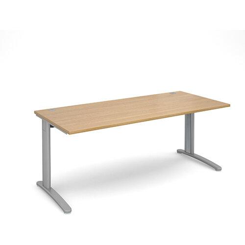 TR10 straight desk 1800mm x 800mm - silver frame, oak top
