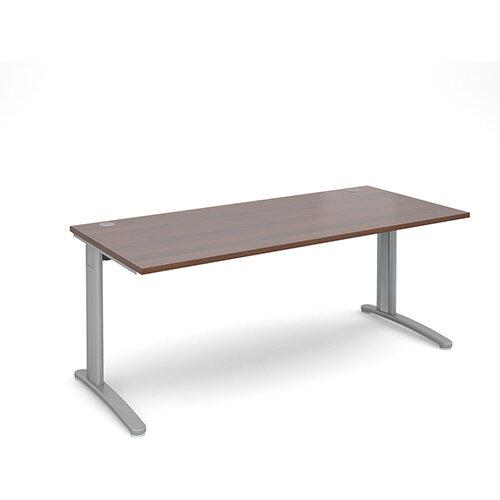 TR10 straight desk 1800mm x 800mm - silver frame, walnut top