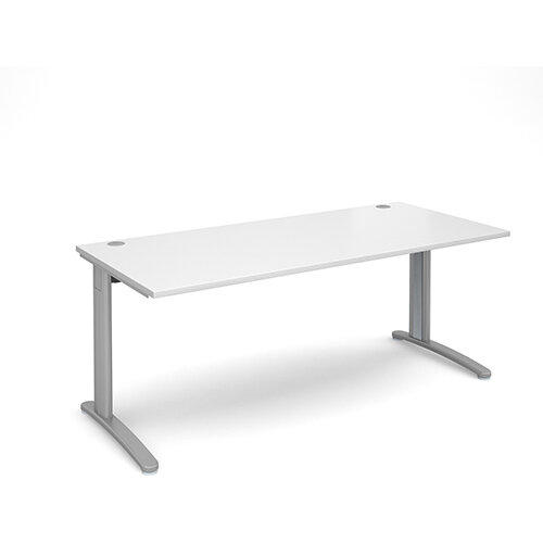 TR10 straight desk 1800mm x 800mm - silver frame, white top
