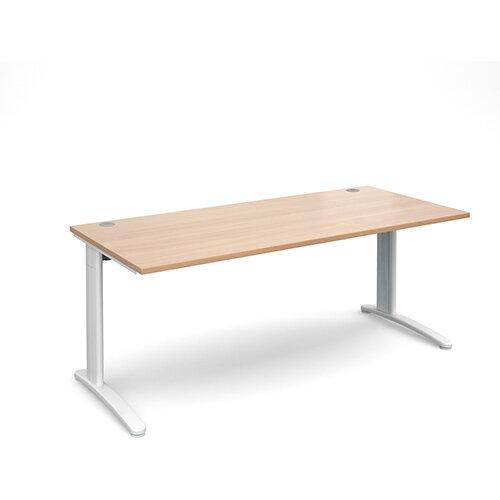 TR10 straight desk 1800mm x 800mm - white frame, beech top