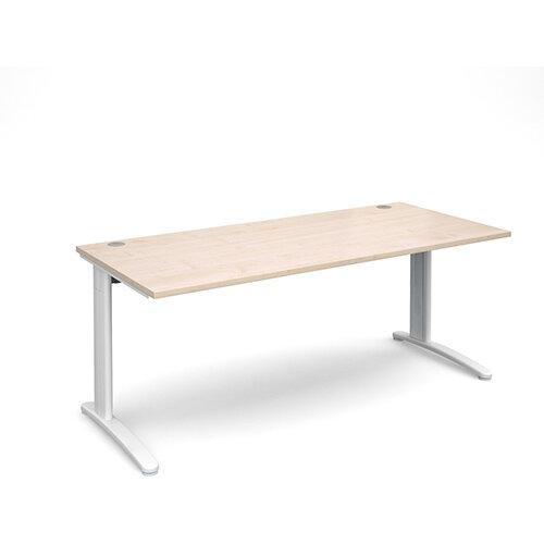 TR10 straight desk 1800mm x 800mm - white frame, maple top