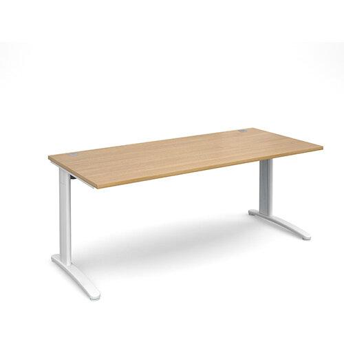 TR10 straight desk 1800mm x 800mm - white frame, oak top
