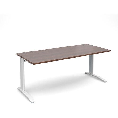 TR10 straight desk 1800mm x 800mm - white frame, walnut top