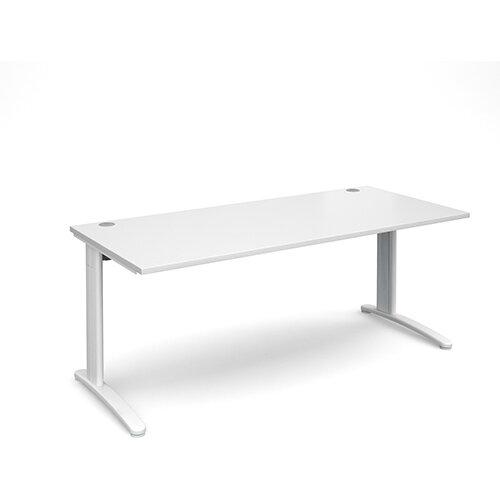 TR10 straight desk 1800mm x 800mm - white frame, white top