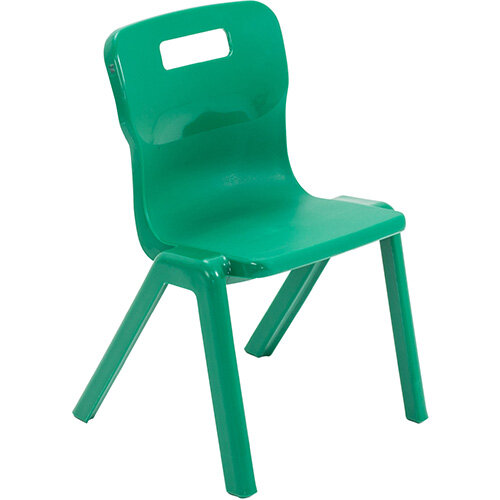 Titan One Piece Classroom Chair Size 2 310mm Seat Height (Ages: 4-6 Years) Green T2-GN - 20 Year Guarantee