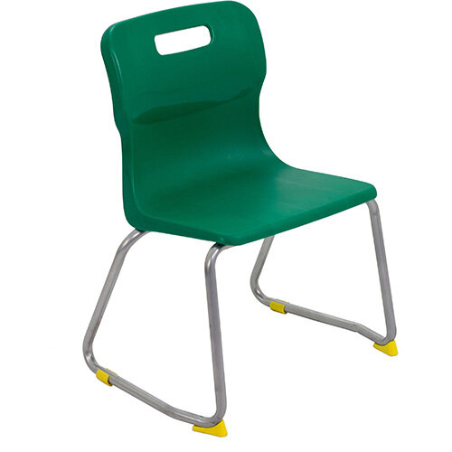 Titan Skid Base Classroom Chair Size 3 350mm Seat Height (Ages: 6-8 Years) Green T23-GN - 5 Year Guarantee