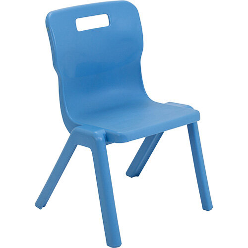 Titan One Piece Classroom Chair Size 3 350mm Seat Height (Ages: 6-8 Years) Sky Blue T3-CB - 20 Year Guarantee