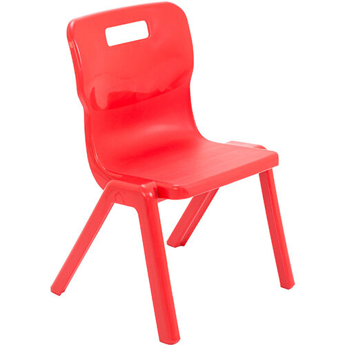 Titan One Piece Classroom Chair Size 3 350mm Seat Height (Ages: 6-8 Years) Red T3-R - 20 Year Guarantee
