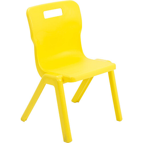 Titan One Piece Classroom Chair Size 3 350mm Seat Height (Ages: 6-8 Years) Yellow T3-Y - 20 Year Guarantee
