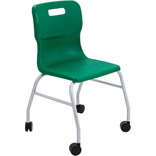 Titan Move 4 Leg Chair with Castors 470mm Seat Height (Ages: 14+ Years) Green T301-GN - 5 Year Guarantee