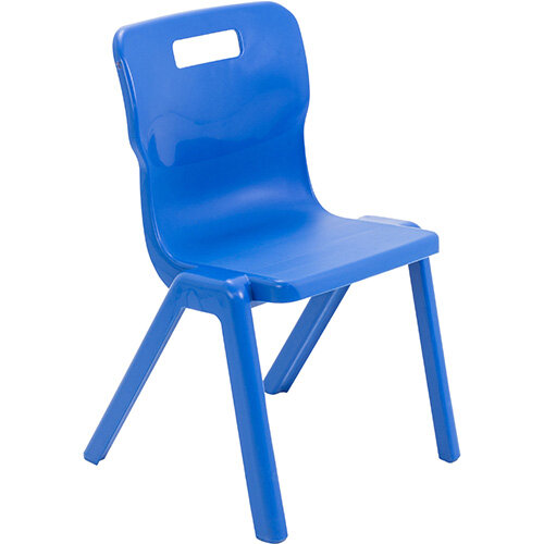 Titan One Piece Classroom Chair Size 4 380mm Seat Height (Ages: 8-11 Years) Blue T4-B - 20 Year Guarantee