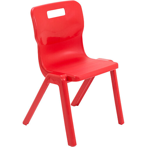Titan One Piece Classroom Chair Size 4 380mm Seat Height (Ages: 8-11 Years) Red T4-R - 20 Year Guarantee