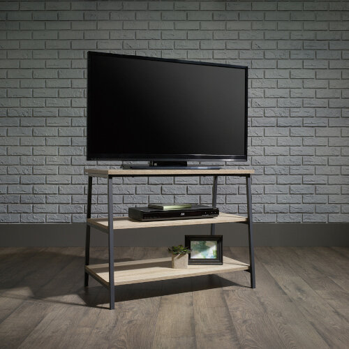 Industrial Style TV Stand / Trestle Shelving Unit W800xD455xH610mm Charter Oak Effect