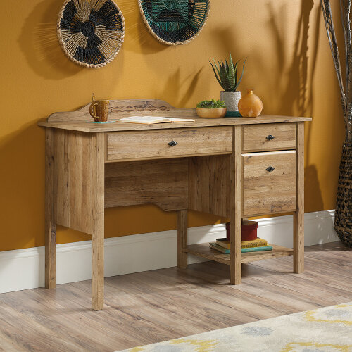 Spanish Style Home Office Desk In Antique Chestnut Finish
