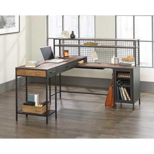 Boulevard Cafe L-Shaped Home Office Desk Vintage Oak Finish &Modern Black Accents W1542mm