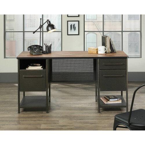 Boulevard Cafe Home Office Desk Black &Vintage Oak Finish W1524mm