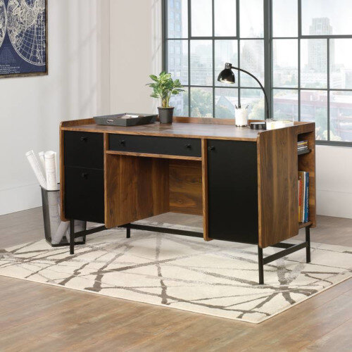 Hampstead Park Mid Century Style Home Office Desk W1372mm Grand Walnut Finish