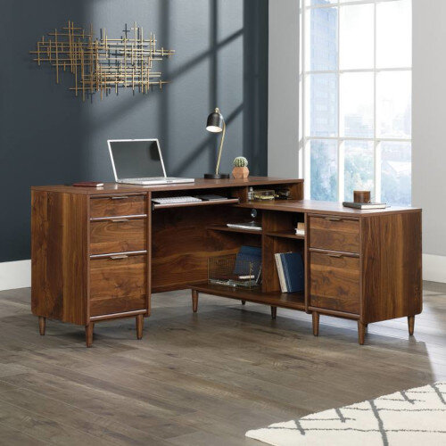 Clifton Place Executive Home Office L-Shaped Desk W1500mm Grand Walnut Finish