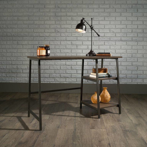 Industrial Style Bench Home Office Desk W1054mm Smoked Oak Finish